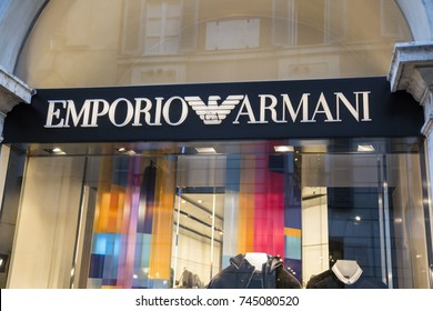 ROME, ITALY - OCTOBER 20, 2017: Emporio Armani store logo,  is an Italian fashion house.