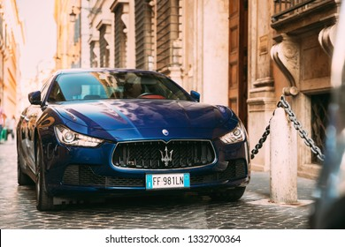 Rome, Italy - October 20, 2018: Blue Color Maserati Ghibli M157 Car Parked At Street