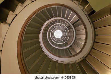 ROME, ITALY - OCTOBER 2015: Elliptical staircase viewed from above.