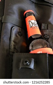 Rome, Italy - October 2018. Close-up of a bottle of Duff beer. The favorite beer of Homer Simpson