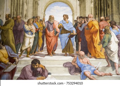 ROME, ITALY - OCTOBER 21, 2017: Raphael, detail of Plato and Aristotle in center, School of Athens, 1509-1511, fresco (Stanza della Segnatura, Palazzi Pontifici, Vatican)