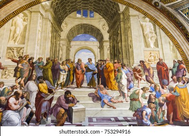 ROME, ITALY - OCTOBER 21, 2017: Raphael, School of Athens. represents all the greatest mathematicians, philosophers and scientists gathered together sharing their ideas and learning from each other.