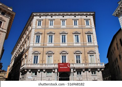 ROME, ITALY - OCTOBER 22, 2011: Palazzo Braschi is a large Neoclassical palace in Rome, Italy. It presently houses the museum of Rome, covering Rome history from Middle Ages to the 19th century.