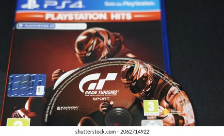 Rome, Italy - October 23, 2021, Gran Turismo Sport, driving simulator video game, developed by Polyphony Digital, released by Sony Interactive Entertainment exclusively for PlayStation 4 in 2017.