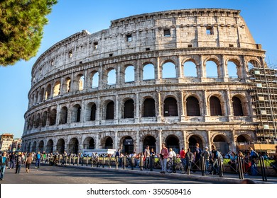 Rome, Italy - October 24, 2015:Tourists came to visit Colosseum that is restored but still a lot of visiting.