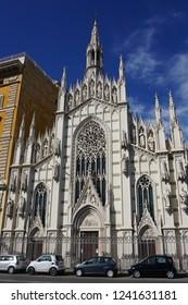 Rome, Italy, October 24, 2018. The graceful Chiesa del Sacro Cuore del Suffragio housing the Purgatory Museum