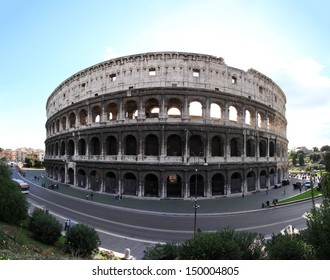 ROME, ITALY - OCTOBER 24: Colosseum amphitheatre in Rome on OCTOBER 24, 2009. Fisheye panorama of Colosseum in Rome, Italy.
