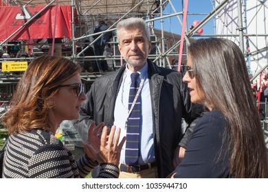 Rome, Italy - October 25, 2014: trade union demonstration to protest against the labor law of Matteo Renzi. (In the photo, Cesare Damiano, politician and former Italian trade unionist.)