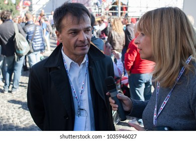 Rome, Italy - October 25, 2014: trade union demonstration to protest against the labor law of Matteo Renzi. (In the photo, Stefano Fassina Member of the Italian Republic)
