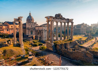ROME, ITALY - OCTOBER 25, 2018: Roman Forum. Vast excavated area of Roman temples, squares & government buildings, some dating back 2,000 years.