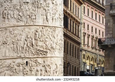 ROME, ITALY - OCTOBER 26, 2014: Detail of Trajan's Column in Rome, Italy.