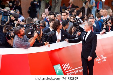 Rome, Italy - October 26, 2017: The Austrian actor Christoph Waltz on the red carpet at the 12th Rome Film Festival Walts was the protagonist of many successful films.
