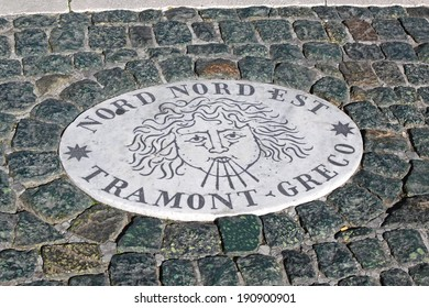 ROME, ITALY - OCTOBER 26: Plaque Nord Nord Est in Vatican on OCTOBER 26, 2009. Direction plaque Nord Nord Est Tramont Greco on Saint Peter Square in Vatican.