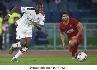 Rome, Italy - October 27, 2019: Rafael Leto (milan) in action during the Italian Serie A soccer match  between AS ROMA and AC MILAN, at Olympic Stadium in Rome.