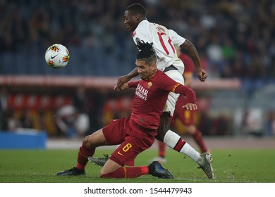 Rome, Italy - October 27, 2019: Chris Smalling (AS ROMA), Rafael Leto (milan) in action during the Italian Serie A soccer match  between AS ROMA and AC MILAN, at Olympic Stadium in Rome.