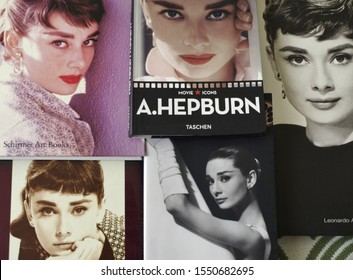 Rome, Italy - October, 27 2019, collection of volumes on the biography of the actress Audrey Hepburn.