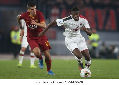 Rome, Italy - October 27, 2019:Gianluca Mancini (AS ROMA)  Rafael Leto (milan) in action during the Italian Serie A soccer match  between AS ROMA and AC MILAN, at Olympic Stadium in Rome.