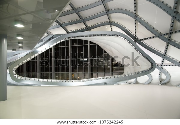 Rome, Italy. October 29, 2016. La Nuvola of Fuksas, the new congress center of Rome made of steel and glass, in the EUR district. Interior details.