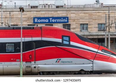 Rome, Italy - October 30, 2018: Trenitalia train passing. Primary train operator in Italy, Trenitalia is owned by Ferrovie dello Stato Italiane, itself owned by the Italian Government
