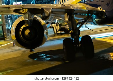 Rome, Italy - October 30, 2018: Ryanair aircraft engine at night. Ryanair Ltd. is an Irish low-cost airline with its primary operational bases at Dublin and London Stansted Airports