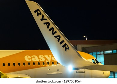 Rome, Italy - October 30, 2018: Easyjet and Ryanair signs on airplanes