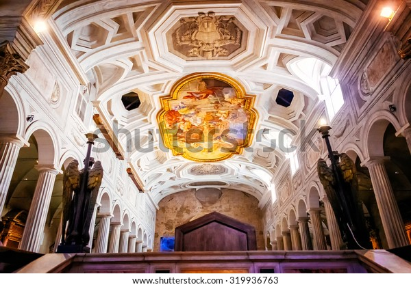 ROME, ITALY - OCTOBER 30: Interior of the church of San Pietro in Vincoli in Rome, Italy on October 30, 2014.