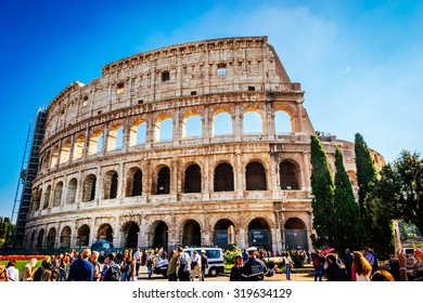 ROME, ITALY - OCTOBER 30: Tourists take a tour of the famous Colosseum in Rome, Italy on October 30, 2014.