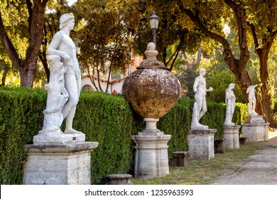 Rome, Italy - October 31, 2014: Statues in the gardens of Villa Borghese