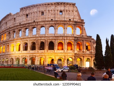 Rome, Italy - October 31, 2014: Tourists admire the evening collie in Rome.