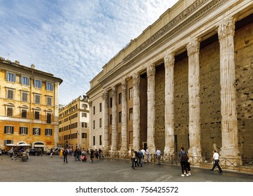 ROME, ITALY - OCTOBER 31, 2017: The Temple of Hadrian is seen at Piazza di Pietra square on October 31, 2017 in Rome, Italy. Rome is one of the most popular tourist destinations in the World.