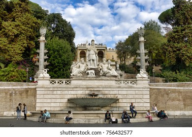 ROME, ITALY - OCTOBER 31, 2017: The 'Fontana della Dea Roma' fountain is seen at Piazza Del Popolo on October 31, 2017 in Rome, Italy. Rome is one of the most popular tourist destinations.