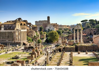 ROME, ITALY - OCTOBER 31, 2017: The Roman Forum is seen at the Capitoline Hill on October 31, 2017 in Rome, Italy. Rome is one of the most popular tourist destinations in the World.
