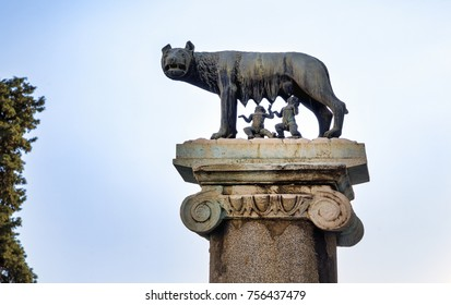 ROME, ITALY - OCTOBER 31, 2017: The Capitoline Wolf (Italian: Lupa Capitolina) is seen at the Capitoline Hill on October 31, 2017 in Rome, Italy.