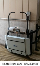 Rome, Italy - October 31, 2018: Vimec platform stairlift. Vimec s.r.l. designs, manufactures, supplies, and installs stairlifts, chairlifts, homelifts, platform stairlifts, and mobile stairclimbers