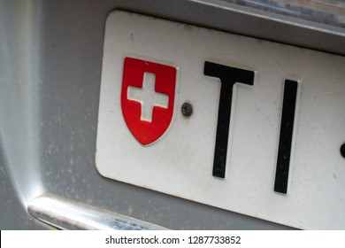 Rome, Italy - October 31, 2018: TI vehicle registration plates of Switzerland, Swiss Canton of Ticino car number plate