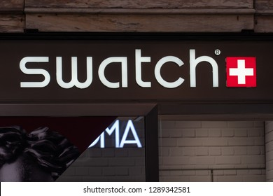 Rome, Italy - October 31, 2018: Swatch store. Swatch is a Swiss watchmaker founded in 1983 by Nicolas Hayek, and is subsidiary of The Swatch Group