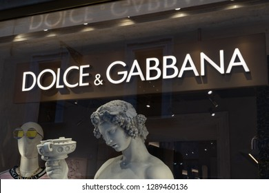 Rome, Italy - October 31, 2018: Dolce & Gabbana store sign. It is a luxury Italian fashion house founded in 1985 in Legnano by Italian designers Domenico Dolce and Stefano Gabbana