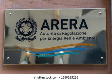 Rome, Italy - October 31, 2018: Shiny plate of Arera, the Italian Regulatory Authority for Energy, Networks and the Environment (Autorità di Regolazione per Energia Reti e Ambiente)