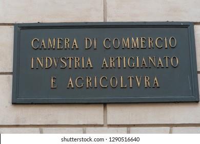 Rome, Italy - October 31, 2018: The Chamber of Commerce, Industry, Agriculture and Artisanship (Italian: Camera di Commercio, Industria, Agricoltura e Artigianato, CCIAA)