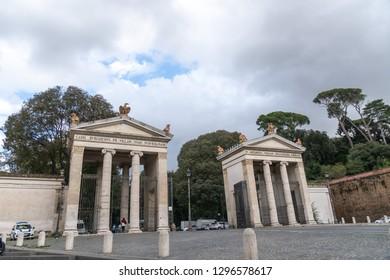 Rome, Italy - October 31, 2018: Monumental entrance to Villa Borghese from Piazzale Flaminio near Porta del Popolo