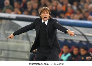 ROME, ITALY - OCTOBER 31,2017: Antonio Conte coach of Chelsea during Uefa Champions League AS Roma Vs Chelsea FC at the Olimpic Stadium on October 31, 2017 in Rome.