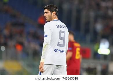 ROME, ITALY - OCTOBER 31,2017:Alvaro Morata  during Uefa Champions League AS Roma Vs Chelsea FC at the Olimpic Stadium on October 31, 2017 in Rome.