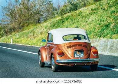 Rome, Italy - October 4, 2017: Volkswagen VW Beetle Convertable Cabriolet Car on the road in Italy
