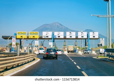 Rome, Italy - October 4, 2017: Toll booth with Blank signs on the road in Italy at the Mount Vesuvius mountain