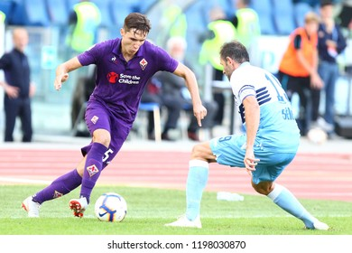 ROME, ITALY - October 7,2018: Federico Chiesa during football match serie A League 2018/2019 between Lazio Vs Fiorentina at the Olimpic Stadium in Rome.
