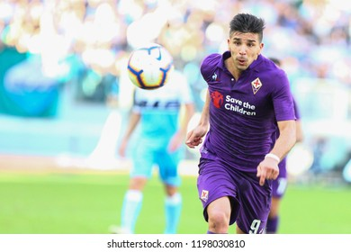 ROME, ITALY - October 7,2018: Giovanni Simeone during football match serie A League 2018/2019 between Lazio Vs Fiorentina at the Olimpic Stadium in Rome.