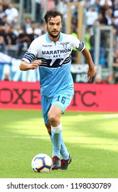 ROME, ITALY - October 7,2018: Marco Parolo during football match serie A League 2018/2019 between Lazio Vs Fiorentina at the Olimpic Stadium in Rome.