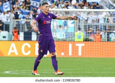 ROME, ITALY - October 7,2018: Nikola Milenkovic during football match serie A League 2018/2019 between Lazio Vs Fiorentina at the Olimpic Stadium in Rome.