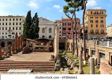 Rome, Italy: October 8, 2014: Cat shelter, Largo di Torre Argentina, Teatro Argentina, Rome