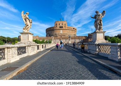 Rome, Italy - October 9, 2020: 2nd century Castle of Saint Angel, mausoleum of Roman Emperor Hadrian, located on the banks of the Tiber River. Saint Angel Bridge(Ponte San Angelo)